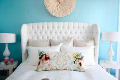 turquoise walls, white furniture