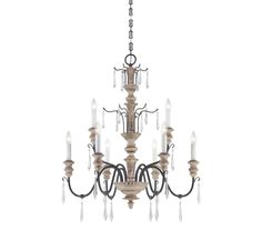 "Savoy House 1-4341-9 Madeliane 9 Light 30.5"" Wide 2 Tier Chandelier with Crystal Distressed White Wood and Iron Indoor Lighting Chandeliers"