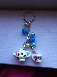 Blue bubbles hello kitty tea set keychain