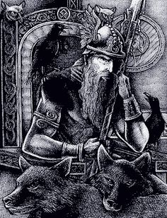 Odin sitting in his throne holding Gungnir, his spear, with his ravens Huginn and Muninn, and wolves Geri and Freki