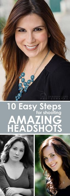 10 easy steps to take professional looking headshots with any DSLR & natural light. Follow these simple tips to get amazing results. Even if you're a beginner, DIY headshots are a possibility.  Learn to take great headshots!