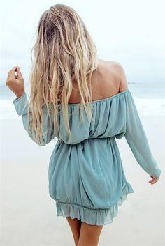 Blue Off Shoulder Panel Flounce Hem Ruched Dress Bohemian Mode, Bohemian Style, Boho Chic, Moda Boho, Estilo Tropical, Summer Outfits, Cute Outfits, Dress Vestidos, Sabo Skirt