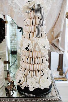 Cake Opera Co black white Macaron tower