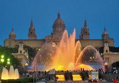 Barcelona. Art Gallery lit by the fountain show. We waited 3h to see the waters dance to music and light! Got good seats between the gallery and the water fountains though! Well worth it.