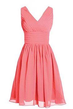 MyProm Women's Straps Short Chiffon Bridesmaid Dress Party Dress Coral M MYPROM http://www.amazon.com/dp/B00WG2Y2C2/ref=cm_sw_r_pi_dp_L4Jxwb1GNFTX7