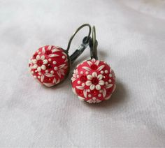 Vintage red earrings by Lena Handmade by StoriesMadeByHands