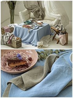 Few stylish natural linen details, attractive handmade dishes on your table and you will be surrounded by fabulous atmosphere that will make you feel perfection while eating with your beloved family or friends. #linen #tablecloth #napkins #table #decor #cornflower #eucalyptus #handmade #plates #dishes #tableware #summer #perfection #blue #white #delicacy #appetizer #curtain #natural #organic #gray #family #time #glutenfree #lemon #cake #tableware