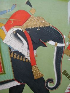 Indian Miniature Paintings - Jaipur Krishna & Radha riding elephants detail from estate of Laurence S. Rockefeller