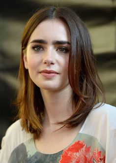 Celebrity Hairstyles, Lily Collins Hairstyle Collection 2015 : Lily Collins  Medium Hairstyle Lily Collins Haircut Lily Collins And Jamie Campbell  Bower, ...