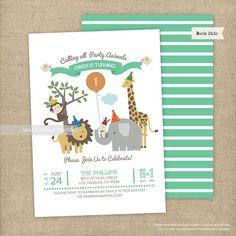 Safari Theme Birthday Party Invitation   Safari Animals Party Invitation/ Printable or Printed Flat Cards