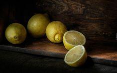 Cytryny, Półka, Ciemne, Tło