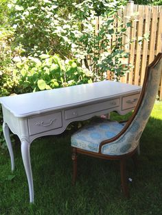 Vintage painted desk, french provincial