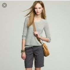 """J. Crew Bermuda Shorts Grey Lightweight Bermuda Shorts.  PRODUCT DETAILS  The definition of warm-weather chic, these shorts can even go to the office with heels. They're made in ultra-lightweight cotton with a hint of stretch so you stay comfortable but still look polished. Waist 34"""", Inseam 10"""".  Cotton/spandex.Zip fly.Machine wash. J. Crew Shorts Bermudas"""
