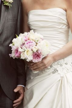 Flower Design Events: Pink& White Peonies, Roses, Sweet Peas & Lily of the Valley Wedding Bouquet