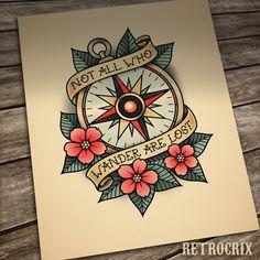COMPASS ROSE TATTOO by Retrocrix, Old School Tattoo print, tattoo designs ideas männer männer ideen old school quotes sketches Neotraditionelles Tattoo, Tatto Old, Tattoo Quotes, Wrist Tattoo, Tiny Tattoo, Traditional Compass Tattoo, Traditional Tattoo Design, American Traditional Tattoos, Traditional Tattoo Old School