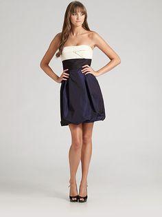 BCBGMAXAZRIA strapless colorblock taffeta dress