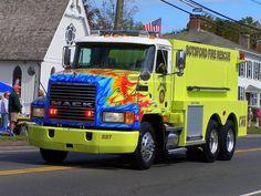 Flame painted Mack fire truck in Botsford, Connecticut. Mack Trucks, Dump Trucks, New Trucks, Fire Trucks, Fire Dept, Fire Department, Ambulance, Cool Fire, Fire Fire