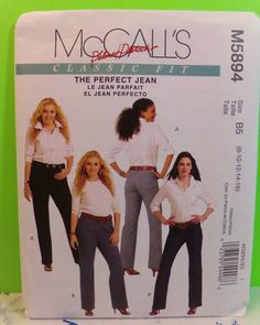 2009 McCalls M5894 Palmer/Pletsch Pattern, The Perfect Jean, Classic Fit, Uncut. Size: B5, 8, 10, 12, 14, 16. Straight or boot legged.