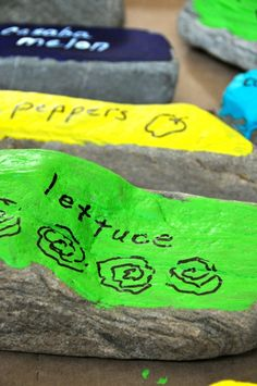 Garden label rock markers -collect rocks use acryllic paint so it lasts write/draw on with permanent markers. Place in garden. Small Garden Tools, Garden Tool Storage, Plant Markers, Garden Markers, Preschool Garden, Garden Labels, Washable Paint, Grilling Gifts, Edible Garden