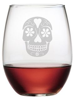 Celebrate the Day of the Dead or Halloween with these cool and unique etched glasses. Perfect for entertaining.