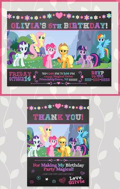 My Little Pony Invitation and Thank You Card Chalkboard - My Little Pony Birthday Party Invites My Little Pony Birthday Party, 5th Birthday Party Ideas, Third Birthday, Birthday Party Invitations, My Little Pony Invitations, Holiday Planner, Birthdays, Templates, Holidays