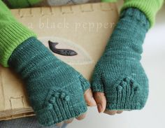 Emerald Fingerless Mitts by Lucy Sweetland (sport weight; free pattern)
