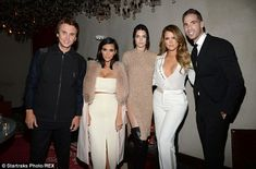 Happy families: A group shot with Jonathan Cheban, Kim, Kendall Jenner, Khloe and Simon Huck Jonathan Cheban, Celebrity Siblings, Kendall And Kylie Jenner, Kardashian Jenner, Kardashian Style, Bridesmaid Dresses, Wedding Dresses, White Outfits, Night Out