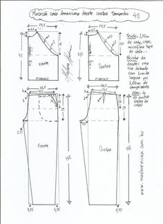 DIY - molde, corte e costura - Marlene Mukai Designer Blouse Patterns, Dress Sewing Patterns, Clothing Patterns, Jumpsuit Pattern, Pants Pattern, Sewing Tutorials, Sewing Projects, Sewing Collars, Sewing Pants