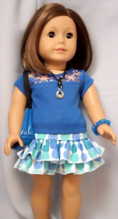 American Girl Doll Clothes Blue  Ruffled Skirt Outfit