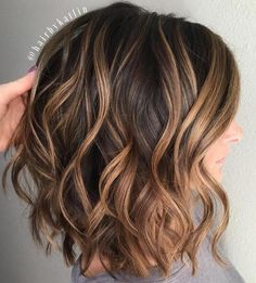 Wavy Brown Lob With Caramel Balayage http://noahxnw.tumblr.com/post/157429841956/short-layered-hairstyles-for-women-short