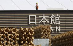 "#JAPAN #SWD #GREEN2STAY A worker walks on the roof of the Japan pavilion under construction at the Expo site in Rho, in the outskirts of Milan, Italy. The theme of the Expo 2015 in Milan is ""Feeding the Planet, Energy for Life"".  Expo 2015 in Milan PICTURE OF THE DAY APR. 08, 2015 -"