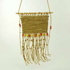 Vintage Macrame Beaded Wall Hanging