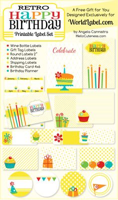 {Exclusive Download} Happy Birthday Label Set    → 9 comments  Those cool cats at World Label enlisted me to design another printable label set for them. This Retro Happy Birthday set is now available for exclusive download on their blog and contains everything you need to send personalized birthday greetings, with a hip and colorful theme!