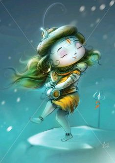 Lovely Kukreja Indian Mythology Print of Gods Framed Wall Painting (Yellow, Cute Divinities - Lord Shiva Shiva Parvati Images, Mahakal Shiva, Shiva Art, Krishna Art, Hindu Art, Rudra Shiva, Lord Shiva Hd Images, Shiva Lord Wallpapers, Shiva Sketch