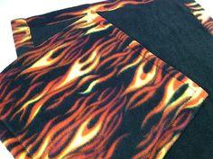 Doll Quilt or Beardie Blanket Set FLAMES print for by kre8ivLizard