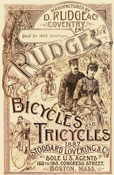 A Victorian ad for Rudge Bicycles and Tires, 1887. #vintage #Victorian #ads #bikes