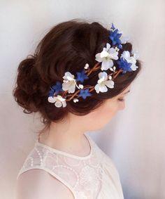 royal blue flower crown, white floral hair wreath, boho rustic ...