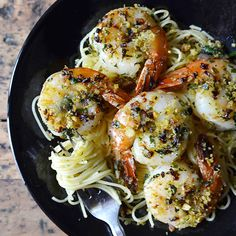 Herbed Shrimp with Capellini and Spicy Bread Crumbs #recipe