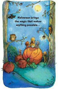 Under an Autumn moon. Halloween illustration by Lynn Gaines. Image Halloween, Holidays Halloween, Halloween Crafts, Halloween Magic, Halloween Printable, Happy Halloween, Halloween Moon, Child Draw, Painting & Drawing