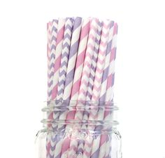 Princess Party, Paper Straws, Pink Paper Straws, Purple Straws, Lavender, Wedding, Baby Shower, Kids Birthday Party, Table Setting, USA on Etsy, $3.75
