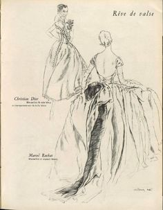 Christian Dior P/E 1950 (à droite Marcel Rochas). Illustration de Victoria Nat.