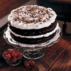 Black Forest Torte--this is so good. I use toasted almond slices. Make this every year for New Years Eve.