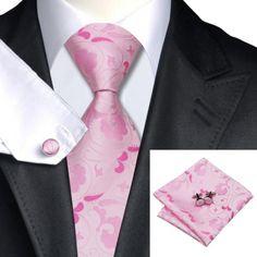 Галстук розовый с лепестками +запонки и платок - купить в Киеве и Украине по недорогой цене, интернет-магазин