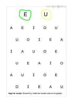 En estas fichas se ofrecen un par de vocales en mayúscula como modelo, que los niños tendrán que localizar y rodear, con el color adecuado, en la sopa de letras que hay debajo. Si quieres...