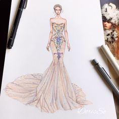 How to Draw a Fashionable Dress - Drawing On Demand Fashion Design Sketchbook, Fashion Design Drawings, Fashion Sketches, Drawing Fashion, Dress Design Drawing, Dress Drawing, Sketch Drawing, Watercolor Drawing, Fashion Prints