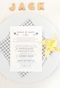"""Kids' Table Idea: Turn your wedding reception into a few rounds of """"I Spy"""" for the young wedding guests. Add a disposable camera at each place setting for the kid's table so each child can capture some important and fun moments!"""