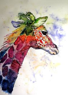 Buy Funny giraffe (76 x 56 cm), Watercolour by Kovács Anna Brigitta on Artfinder. Discover thousands of other original paintings, prints, sculptures and photography from independent artists.