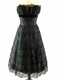 1950's BLACK LACE TIERED COCKTAIL DRESS BY BLANES OF LONDON