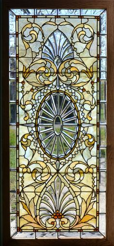 A set of 3 Antique American Stained/Jeweled and Beveled Glass Windows.  Originally installed in the Indiana Governors Mansion, the windows are in excellent condition.                                                                                                                                                                                 More
