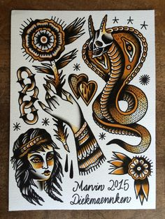 Marvin Diekmaennken Tätowierungen Traditional Tattoo Painting, Traditional Tattoo Sketches, Traditional Tattoo Old School, Traditional Tattoo Design, Traditional Tattoo Flash, Traditonal Tattoo, Tatuagem Old School, Geometric Tattoo Arm, Japan Tattoo